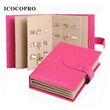 Organizer Portable PU Leather jewellery Storage Collection Book Display Holder