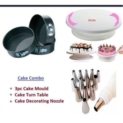 Cake Decoration Tools Set of Full Rotating Round Table with Nozzle Accessories Detachable Base Mould Combo