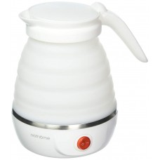 Foldable Electric Travel Kettle Dual Voltage Food Grade Silicone, 0.6 Liter, White