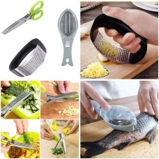 Combo Of 3 Fish Scale Scraper/Remover Knife/Peeler/Skin Cleaner Stainless Steel Kitchen Garlic Crusher