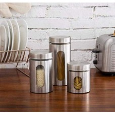 3 Pcs set Stainless Steel Plated Glass Kitchen Canister